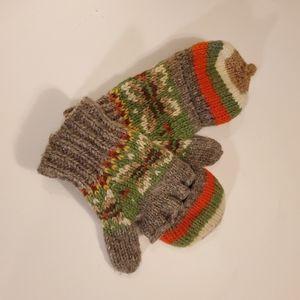 Warm convertible fingerless mittens